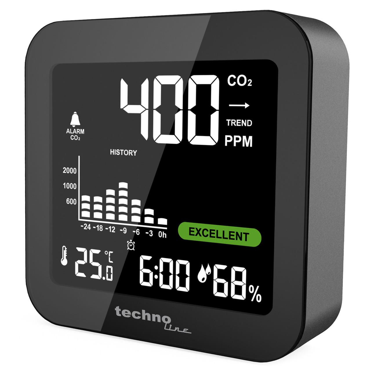 technoline CO2-Messgerät - CO2-Anzeige WL1025- Kohlendioxid- Ampel-Anzeige- Akku