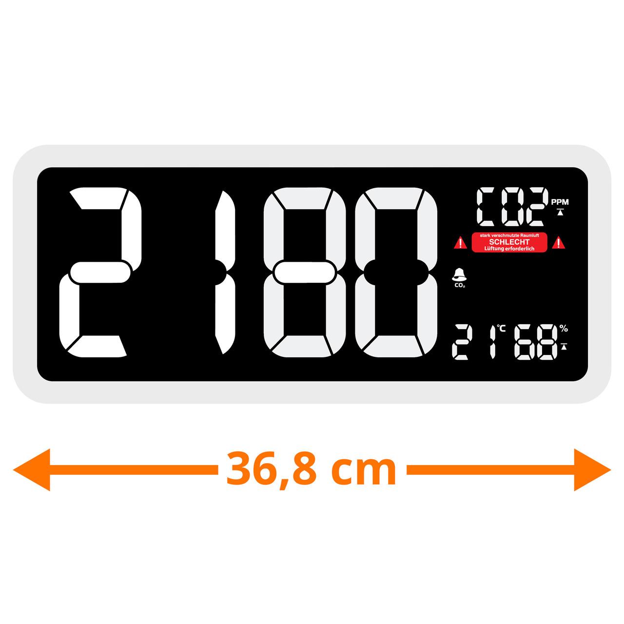 technoline CO2-Messgerät im XXL-Wanduhr-Design WL1040- Kohlendioxid- mit grafischer Ampel-Anzeige