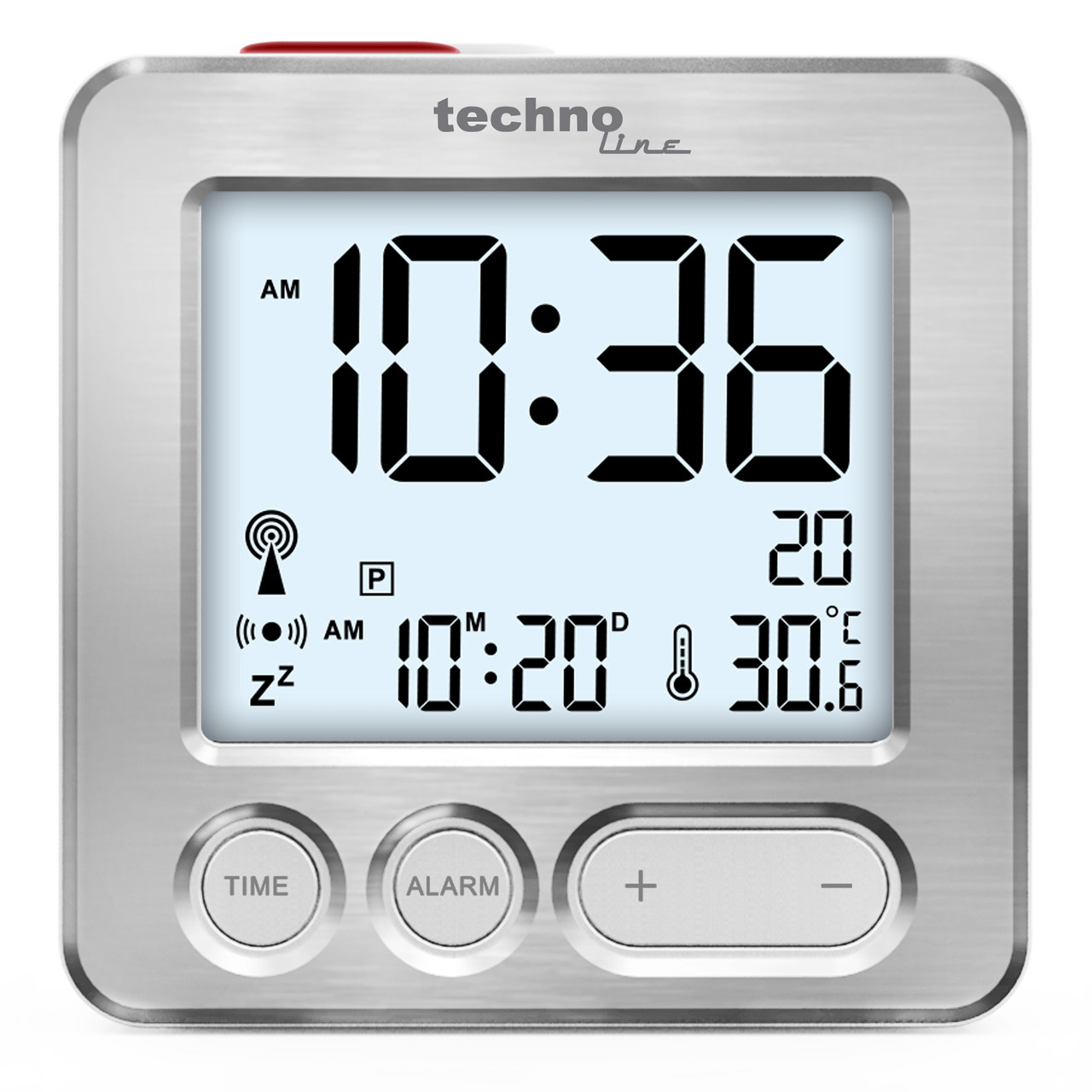 technoline Funkwecker mit Touch-Snooze- Display-Beleuchtung- kompakte Abmessungen