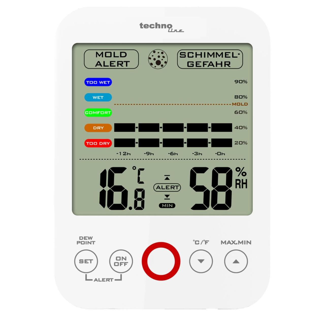 technoline Thermo-Hygrometer WS 9422- mit Klimakomfortanzeige und Schimmelalarm