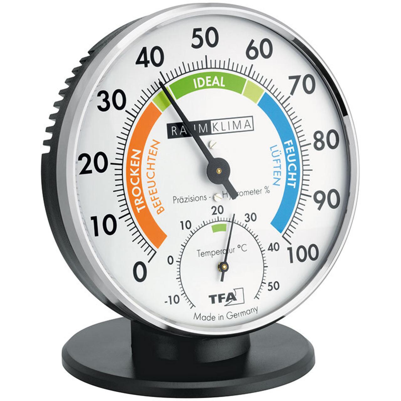 TFA analoges Thermo-Hygrometer- mit farbigen Komfortzonen- mit Standfuss