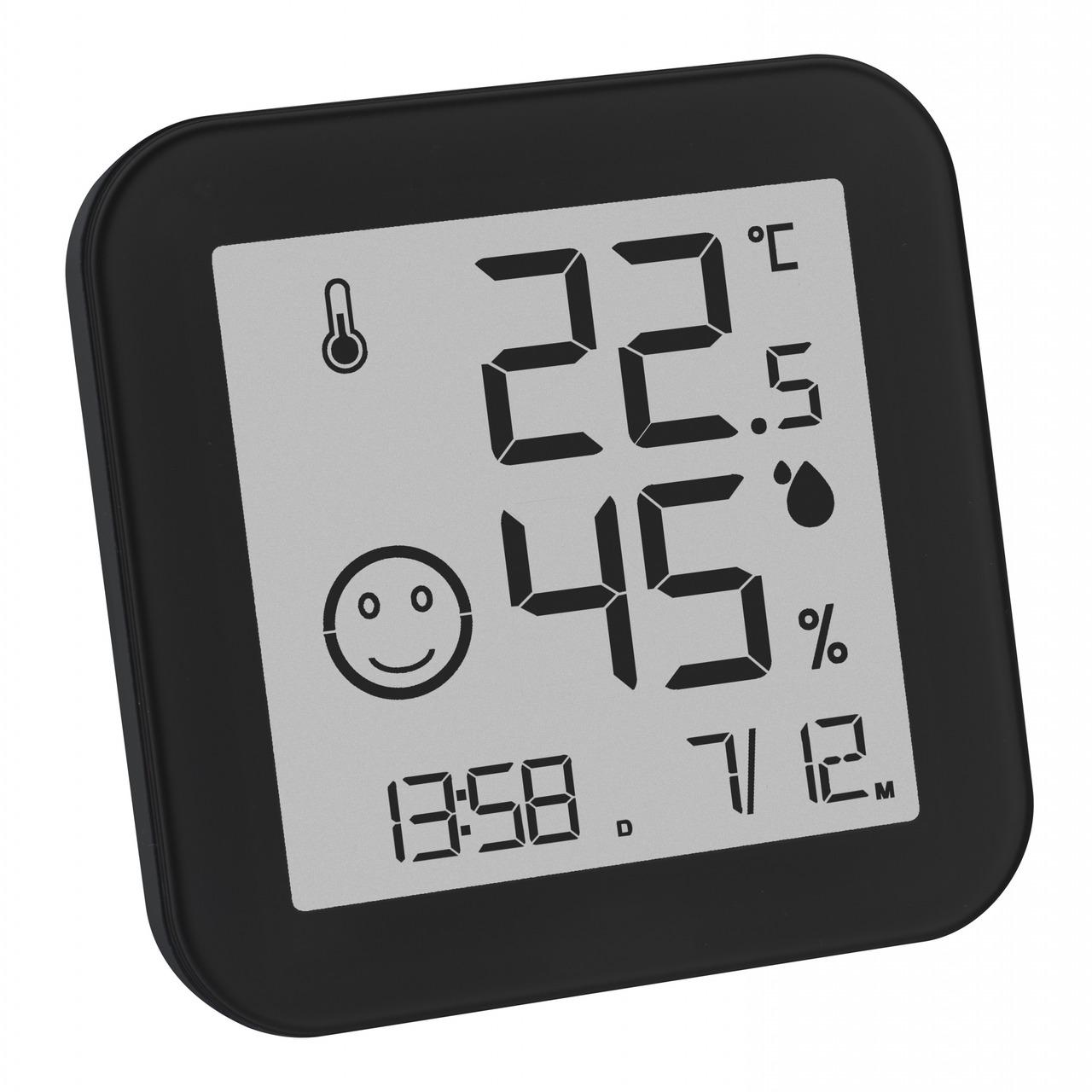 TFA Digitales Thermo-Hygrometer BLACK mit E-Ink-Display- Klimakomfortanzeige- schwarz