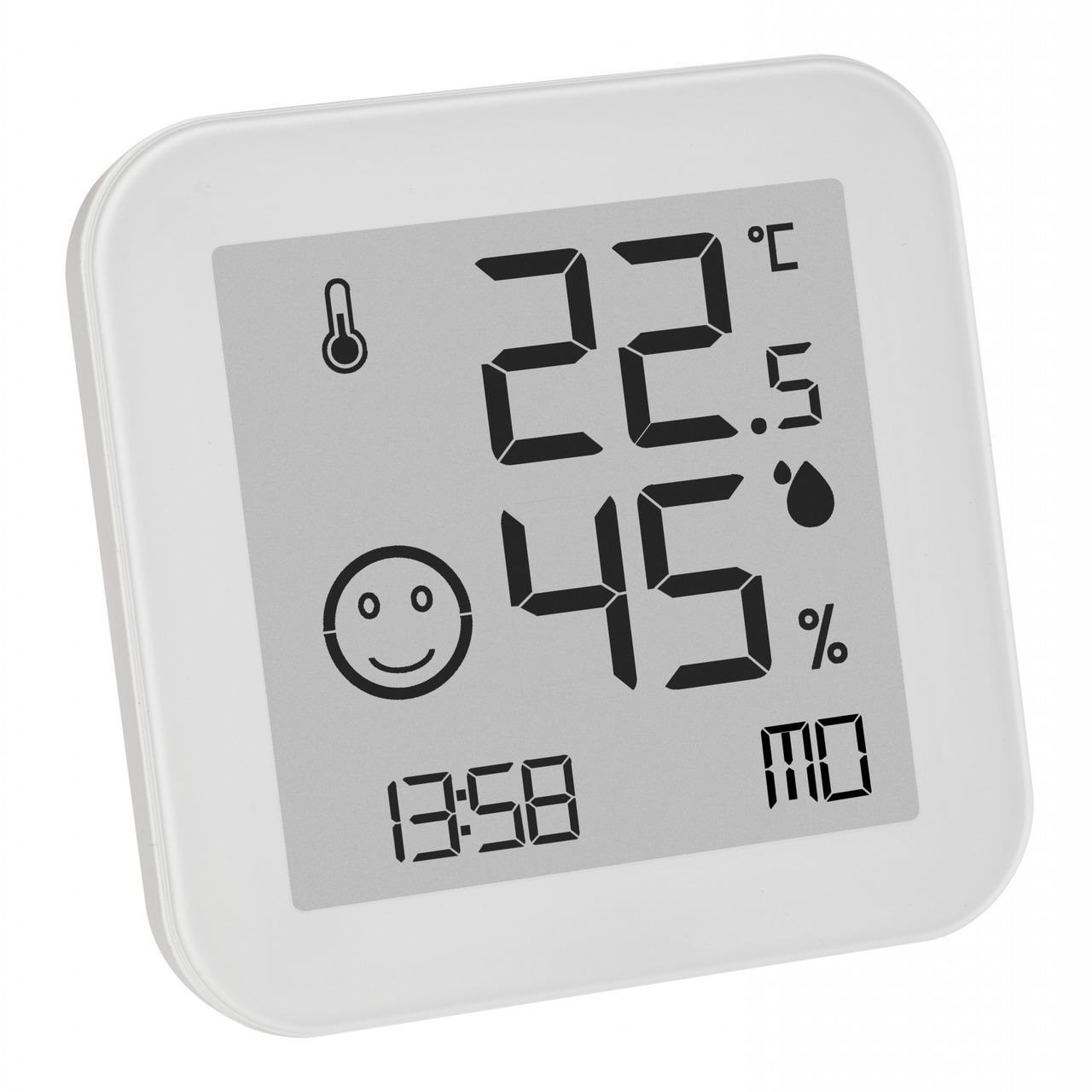 TFA Digitales Thermo-Hygrometer WHITE mit E-Ink-Display- Klimakomfortanzeige- weiss