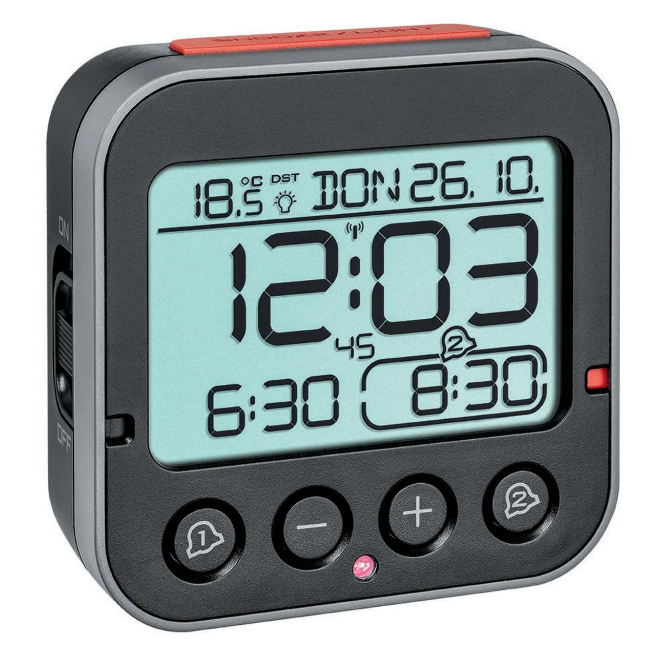 TFA Funk-Wecker mit 2 einstellbaren Weckzeiten- Sensor für automatische Displaybeleuchtung