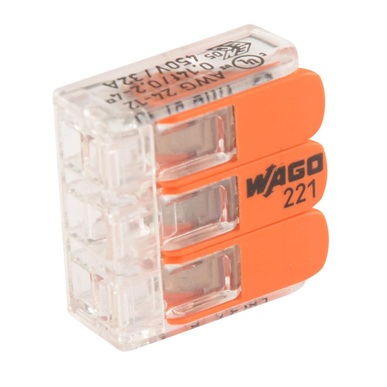 Wago 221-413 COMPACT Verbindungsklemme 3 x 4 mm- 50 Stück