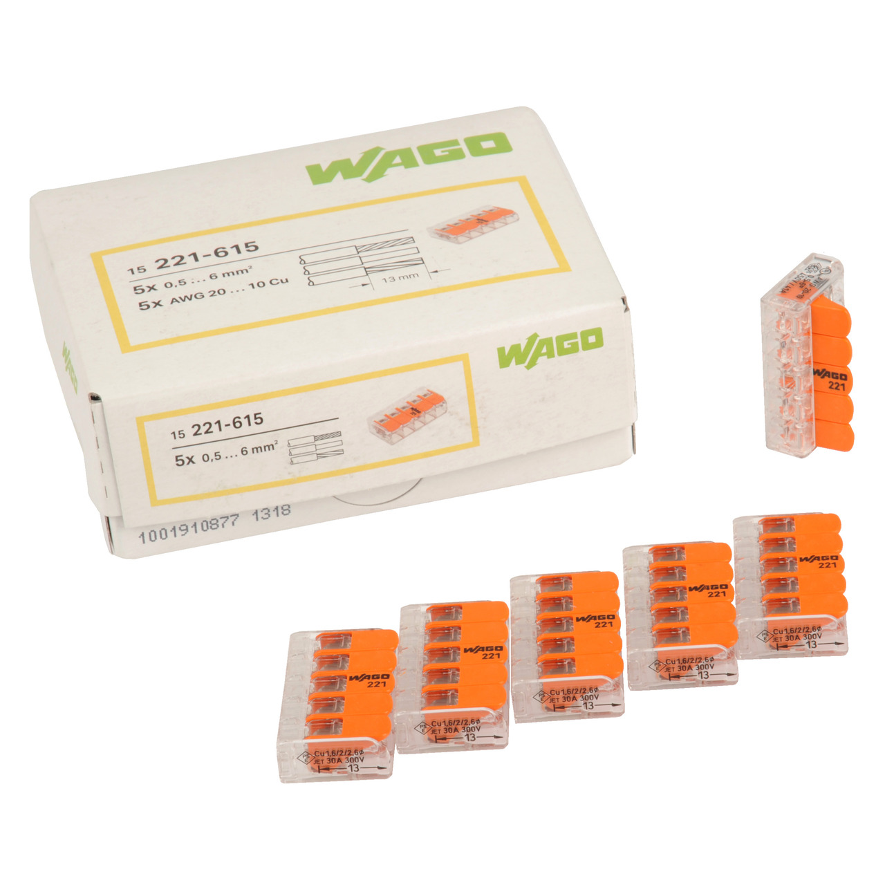 Wago Wagoklemme 221-615- 5-Leiter-Klemme- Nennquerschnitt 6mm- 15er Pack