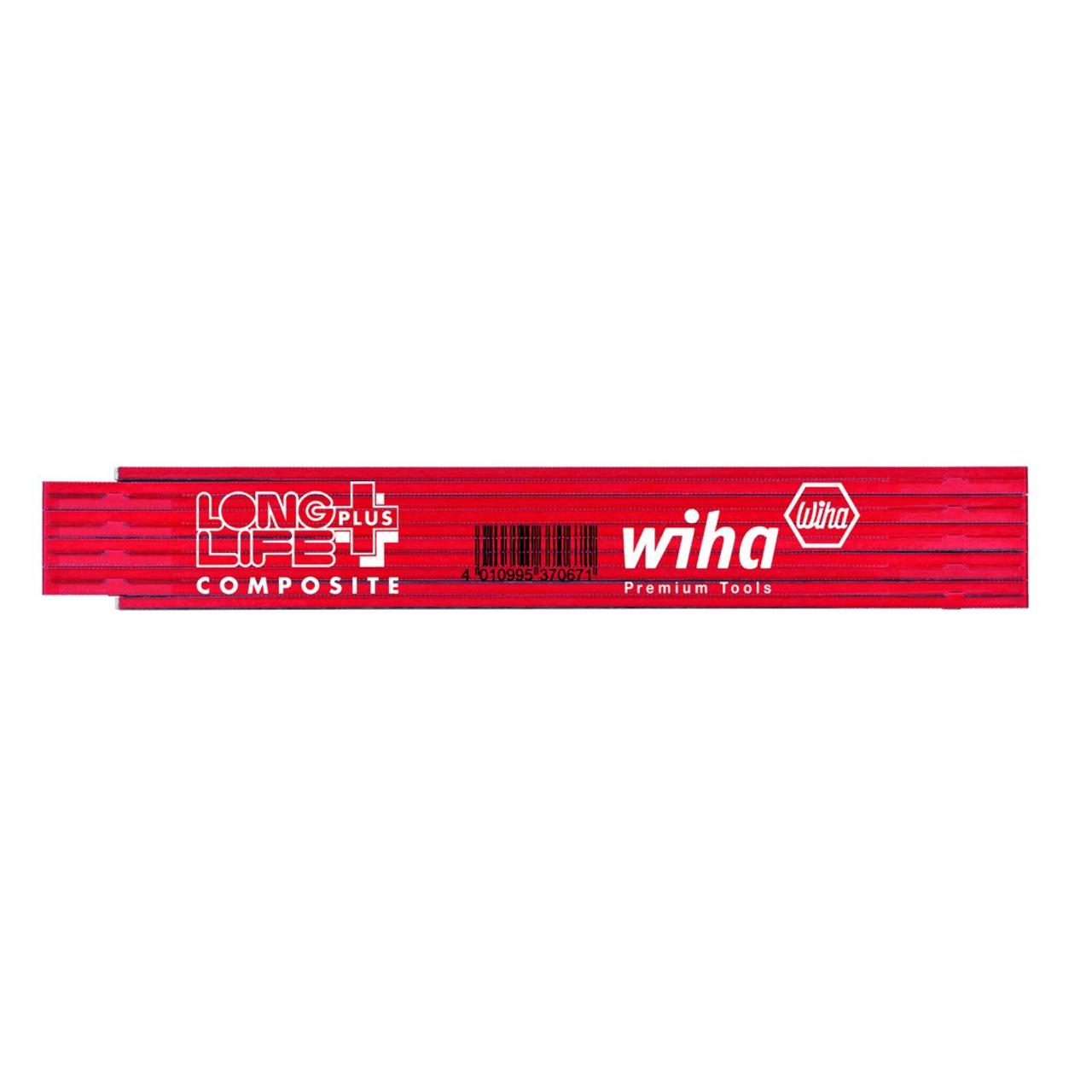 Wiha Long-Life-Gliedermassstab Plus Composite- 2m- rot-schwarz