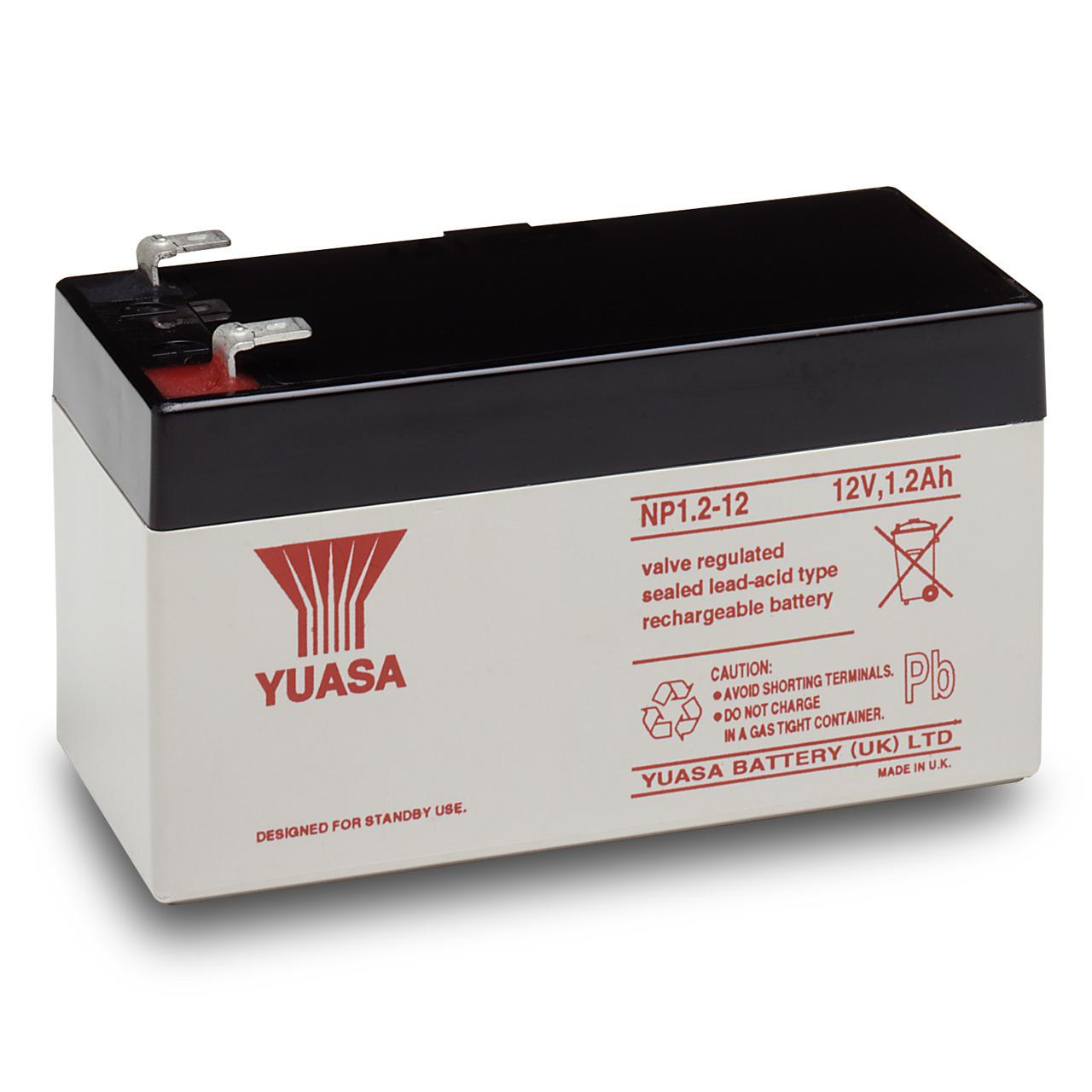 yuasa AGM Bleiakku NP1-2-12 mit VdS- Fastonkontakt 4-8mm- 12 V - 1-2 Ah