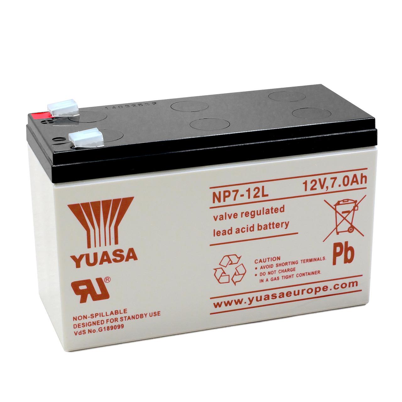 yuasa AGM Bleiakku NP7-12L mit VdS- Fastonkontakt 6-3mm- 12 V - 7 Ah